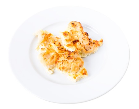 battered: Delicious battered cauliflowers. Isolated on a white background.