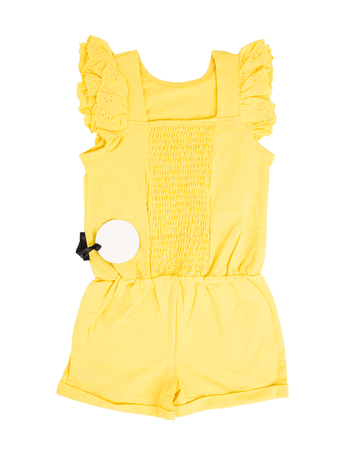 overall: Yellow frilled coton overall. Isolated on a white background.