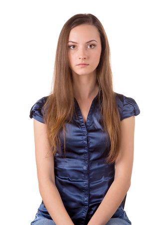 sholders: Head and torso of a brown hair lady siting Stock Photo