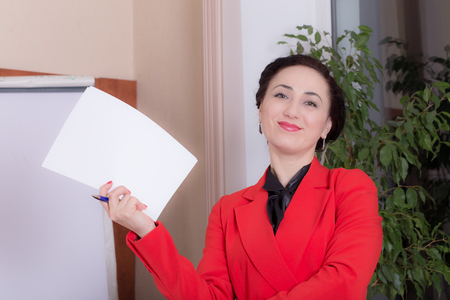 Business woman holding the document. Photo can be used as a whole background. Stock Photo