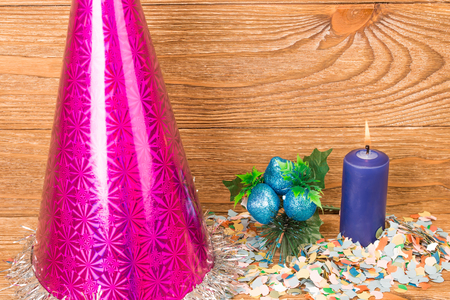tonto: Composition of the christmas decorations. It arrangement on the wooden background.