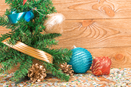 composition of the christmas decorations it arrangement on the wooden background stock photo