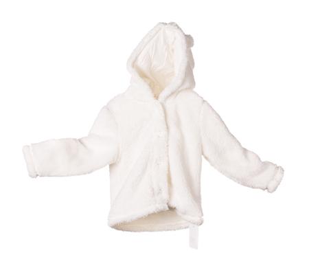 White fur anorak. Isolated on the white background. Stock Photo - 80695069
