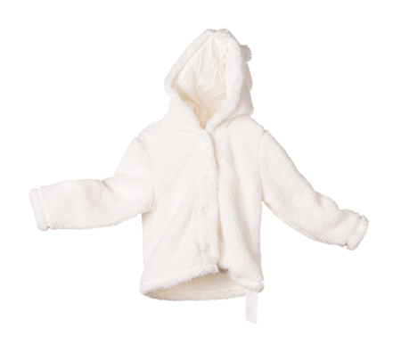 anorak: White fur anorak. Isolated on the white background.