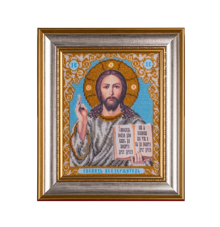 iconography: Representation of Jesus Christ face to glass beads. Isolated on the white background background.