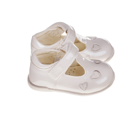 Childrens white shoes. Isolated on the white background.