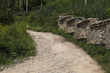 unsurfaced road: Way on the top. There are a dirt road and a stone fence. Stock Photo