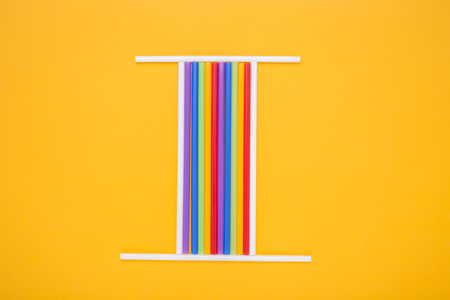 numeric: Roman numeral one. Located on the orange background.