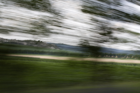 View from the car window. Landscape photographed while driving.