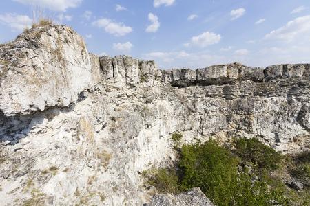 Abandoned limestone quarry located in the north of the Republic of Moldova. Banco de Imagens