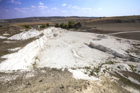 Abandoned limestone quarry located in the north of the Republic of Moldova. Banco de Imagens - 88330118
