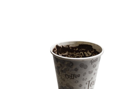 There is a paper cup. Tell fortunes by coffee grounds. Stock Photo