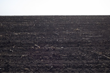 Ploughed field in spring prepared for sowing. This image may be used as a background. There is a space for a text. 스톡 콘텐츠