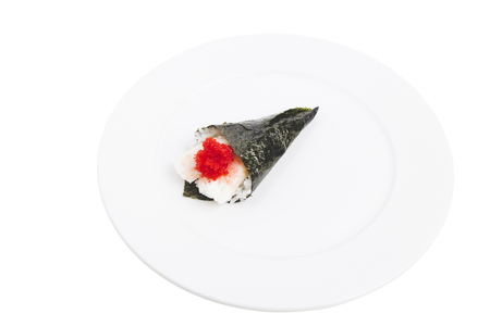 Temaki with shrimp meal and red caviar. Isolated in a white background. Close-up.