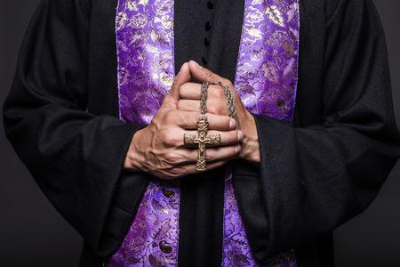 Concept: prayer.  Studio shot on black background    photo