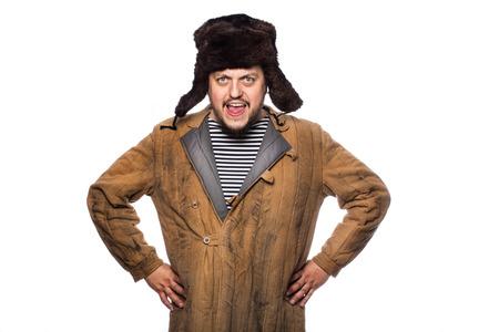Hombre ruso enojado gritando. Retrato del estudio aislado en el fondo blanco Foto de archivo - 31807456