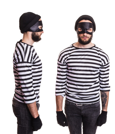 stereotype: Thief stereotype. Portrait isolated on white background