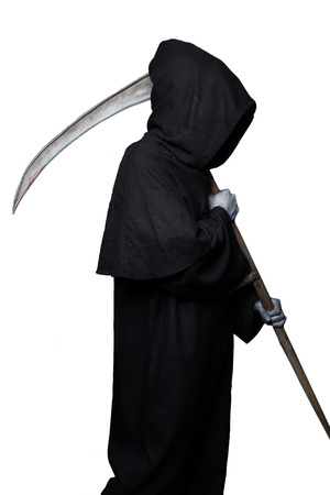 Halloween character: grim reaper. Studio portrait isolated on white background