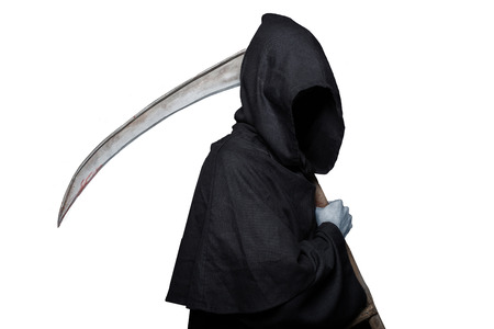 harbinger: Grim reaper. Studio portrait isolated on white background
