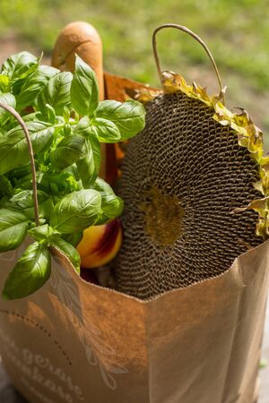 Various healthy food in paper bag on wooden background. Healthy food from the store Foto de archivo - 132465712