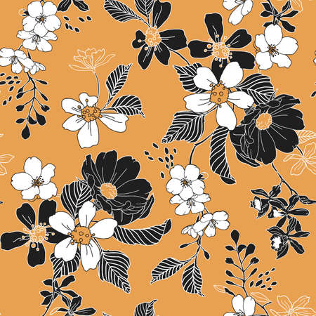 Seamless Trendy Floral Pattern Vector illustration.