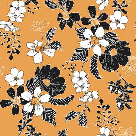 Seamless Trendy Floral Pattern Vector illustration.