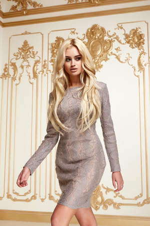 Beautiful sexy young blonde girl with long thick wavy hair thin slender figure perfect body and pretty face make-up wearing a grey skinny dress high heels Reklamní fotografie