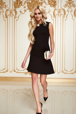 black dress: Beautiful sexy young blonde girl with long thick wavy hair thin slender figure perfect body and pretty face make-up wearing a little black dress high heels Stock Photo