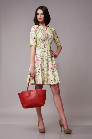 Beautiful sexy young business woman with evening make-up wearing a dress and high-heeled shoes and a small black handbag, business clothes for meetings and walks autumn collection