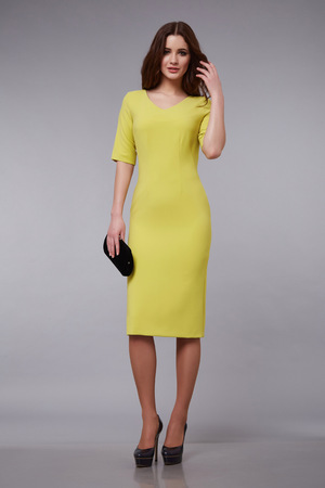 cotton dress: Beautiful sexy brunette woman businesswoman lady natural makeup, clothes for meeting party elegant silk cotton dress wear, accessory lather handbag, brand bag, shoes, fashion style collection catalog
