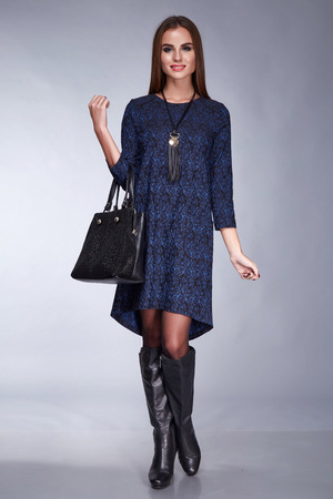 party wear: Beautiful sexy brunette woman businesswoman lady natural makeup, clothes for meeting party elegant silk cotton dress wear, accessory lather handbag, brand bag, shoes, fashion style collection catalog