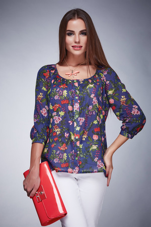 blouse sexy: Beauty stylish woman wear silk blouse jacket and pants fashion style look business clothes casual for meeting and party sexy woman with long brunette hair and tanned skin makeup hold in hand bag lady