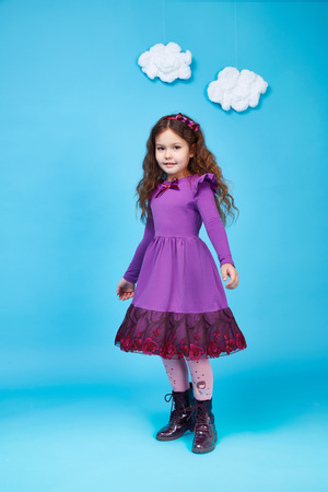 cotton dress: Beautiful little cute girl smile long dark hair wear style fashion silk cotton dress shoe spring mood children clothing childhood daughter pretty face collection sister friend play fun