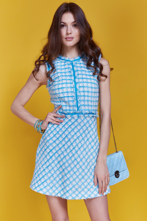 Glamour beautiful sexy brunette women, style look model wear short blue dress with small lather bag in hands in fashion pose with amazing figure, perfect shape girl hairstyle long legs make up party.