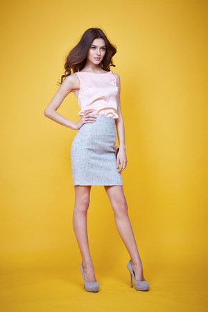 Glamour fashion style beautiful woman sexy clothes pink silk blouse cotton skirt lather trendy bag model pose catalog summer collection clothes for office businesswoman party date meeting makeup Stockfoto