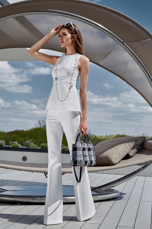 Sexy glamour beautiful fashion model lady woman wear stylish costume silk blouse pants accessory bag summer collection clothes party luxury life style street look brunet hair makeup natural sunglasses. Banque d'images