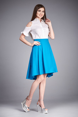 office shoes: Beautiful woman wear skirt and blouse silk cotton fashion clothes catalog casual for party meeting office every day wear accessory natural beauty style shoes lady long dark hair summer collection Stock Photo