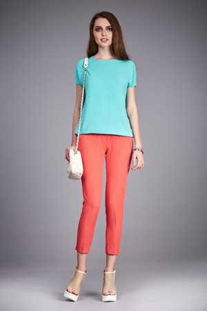 Casual clothes catalog collection for life style every day walk party student girl wear pants and t-shirt blouse hand bag fashion shoes perfect body model pose glamour natural beauty   make up hair