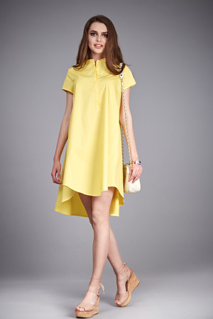 Sexy brunette woman wear fashion clothes casual dress natural silk trendy accessory hand bag lather pretty face high-heels shoes collection summer style makeup cosmetic for face and body fit diet hair. Stock fotó