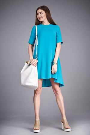 office shoes: Catalog of fashion clothes for business woman mom casual office style meeting walk party silk cotton dress summer collection accessory shoes beautiful model long brunette hair natural make up  bag.