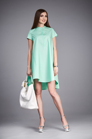 cotton dress: Catalog of fashion clothes for business woman mom casual office style meeting walk party silk cotton dress summer collection accessory shoes beautiful model long brunette hair natural make up  bag.