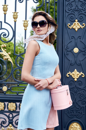 outdoor glamour: Beautiful sexy blond woman makeup wear stylish short dress for party and walk glamour fashion clothes silk shawl accessory bag and sunglasses good summer weather park outdoor gate green trees street Stock Photo