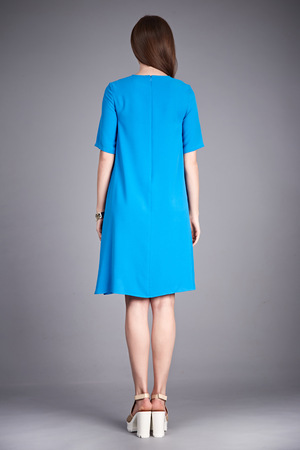 cotton dress: Catalog of fashion clothes for business woman mom casual office style meeting walk party silk cotton dress summer collection accessory shoes beautiful model long brunette hair natural make up  back.