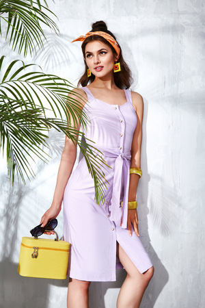 casual wear: Beautiful sexy woman wear fashion design dress glamour style model pose elegance business casual celebrity lady party time accessory trend bag brand luxury life palm and summer collection Stock Photo