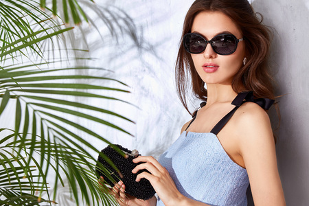 summer wear: Beautiful sexy woman wear fashion design dress glamour style model pose elegance business casual celebrity lady party time accessory trend bag brand sunglasses luxury life palm and summer collection