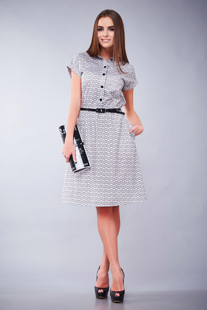 Catalog of fashion designers clothes casual and office business woman style dress for meeting walk and date beautiful sexy girl long hair natural makeup smile pretty face accessory perfect body shape Stock Photo