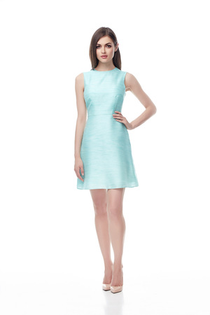 Businesswoman sexy woman pretty face perfect body birthday girl bridesmaid long brunette hair makeup clothes beautiful fashion model wear silk light-blue short dress for party date office work white 版權商用圖片 - 60704215