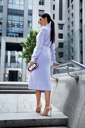 neckless: Beautiful sexy woman long brunette hair businesswoman wear elegant clothes body shape dress for party meeting elegance jewelry neckless bag and coat walk on the street business center building tree