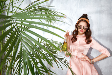 Beautiful sexy woman wear fashion design dress glamour style model pose elegance business casual celebrity lady party time accessory trend bag brand sunglasses luxury life palm and summer collection