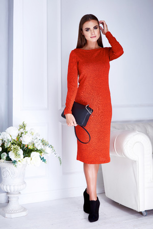 body jewelry: Beautiful sexy young brunette woman with long hair thin slender figure perfect body and pretty face make-up wearing a red evening skinny dress and jewelry accessory bag white interior fashion style Stock Photo